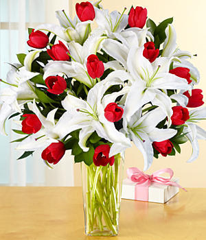lilies with  red tulips